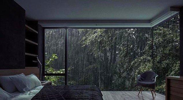 16. Ben orada olsam ve o yağmur hiç bitmese...