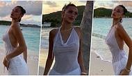 Bella Hadid İç Çamaşırsız Giydiği Transparan Bluzuyla Miami'de Ortalığı Alev Alev Yaktı!