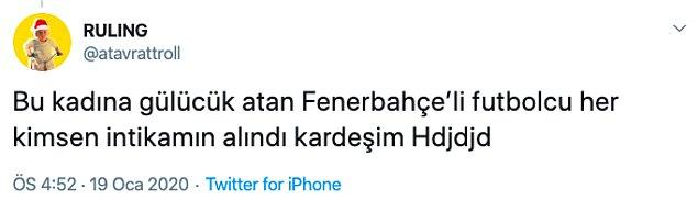 Ufak bir dipnot, Ece Erken geçtiğimiz günlerde Fenerbahçeli bir futbolcunun kendisine gülücüklü mesaj attığını, o futbolcuyu Fenerbahçe yönetimine şikayet ettiğini söylemişti. Ruling bu yaşananlara da gönderme yaptı.