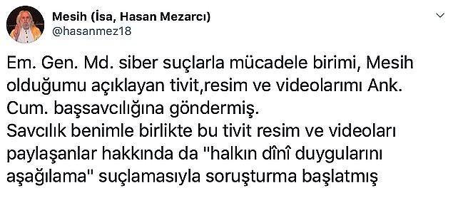Sosyal medyayı aktif olarak kullanan Mezarcı'ya geçtiğimiz günlerde çektiği videolar ve attığı tweetler nedeniyle soruşturma başlatılmıştı.