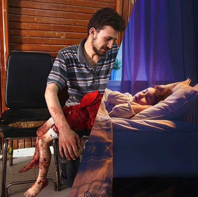 1. Şam'ın isyancı bölgesinde öldürülen kızının cesedine bakan çaresiz bir baba...