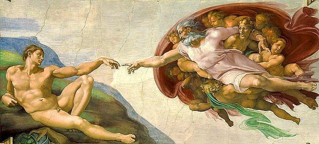 4. Michelangelo'nun 'Adem'in Yaratılışı' adlı bu eseri Tanrının Adem'e hayat vermesi üzerine bir betimleme yapılmıştır. Peki senin gördüğün ne?