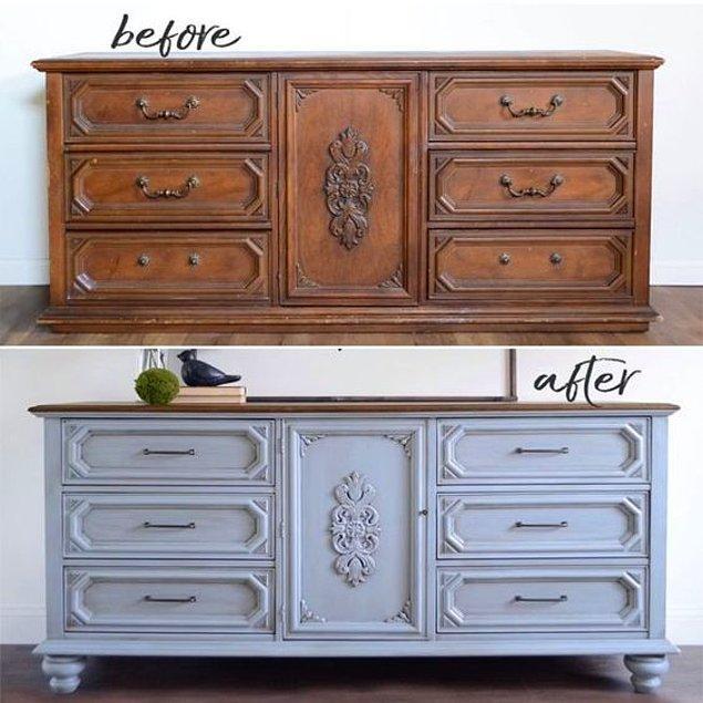 1. Mobilyaları dönüştürmek için bazen yalnızca boyamak yeterli.