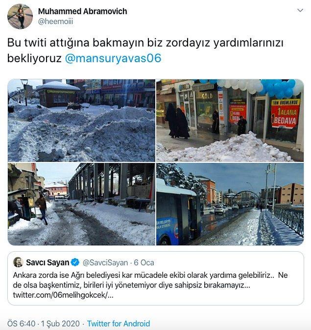 Ancak kar yağışının artmasıyla hayatın olumsuz yönde etkilendiği Ağrı'da bir vatandaş tam tersini düşünüyor!