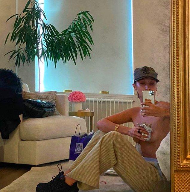 Model Bella Hadid ise yine yaptı yapacağını. Bir elinde Buritto ile evden çıkmayın dedi.