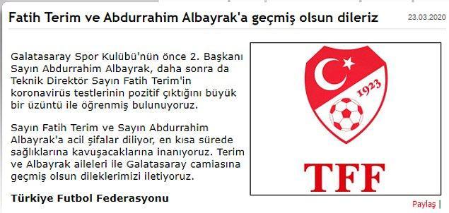 TFF, Fatih Terim ve Abdurrahim Albayrak'a geçmiş olsun mesajı yayınladı.