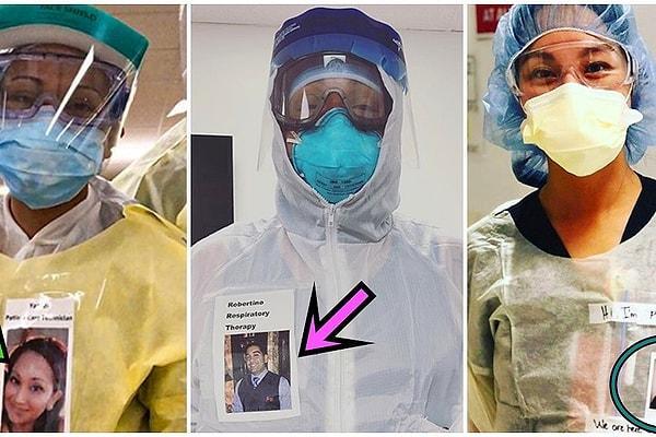 Медработники начали закреплять свои фотографии с улыбками на защитные костюмы, за которыми не видны лица
