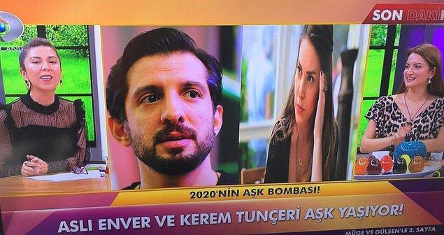 Kanal D'de yayınlanan 2. Sayfa programında Aslı Enver ve eski basketbolcu Kerem Tunçeri'nin aşk yaşadığı iddia edildi.
