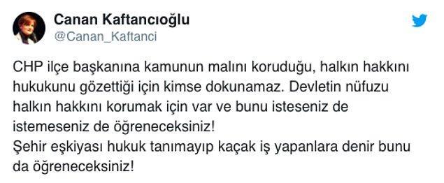 Bu olay sonrası sosyal medyada açılan #ŞehirEşkiyasıChp etiketine ise CHP İl Başkanı Kaftancıoğlu'ndan cevap geldi