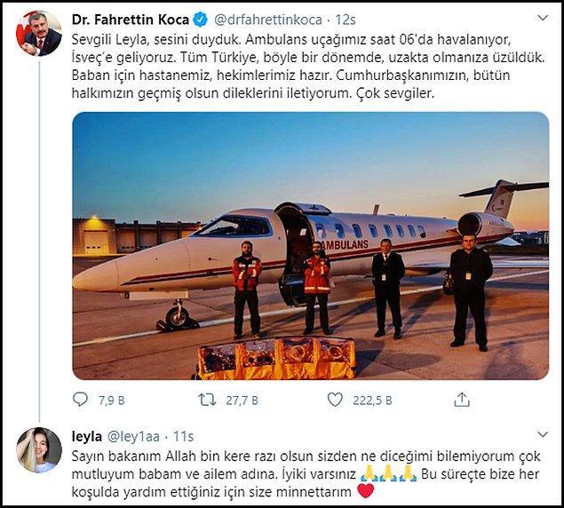 Sağlık Bakanı Fahrettin Koca, Leyla'nın yardım çağrısını Twitter'dan yanıtladı ve Emrullah Gülüşken'in, çocuklarıyla birlikte Türkiye'ye getirilmesi için ambulans uçak gönderilmesi talimatını verdi.