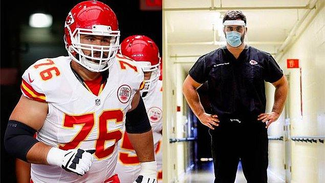 7. Kansas City Chiefs'te forma giyen Amerikan futbolcusu Laurent Duvernay-Tardiff, takımının şampiyonluğundan üç ay sonra corona virüsü salgını ile mücadele etmek için mesleği olan doktorluğa başladı.
