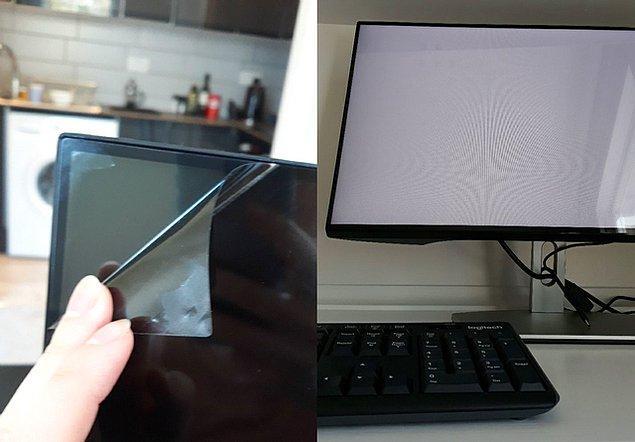 """2. """"Yeni aldığım ekranın koruyucu jelatini diye kaldırdım. Polarize filmmiş."""""""