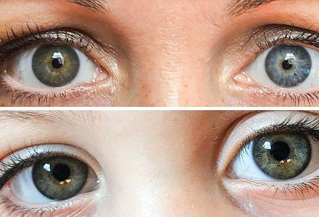 """14. """"Kızımın da benim de sol gözümüz mavi, sağ gözümüz yeşil renkte. Kızımın mavi gözünün alt kısmında bir parça da yeşil renk var."""""""