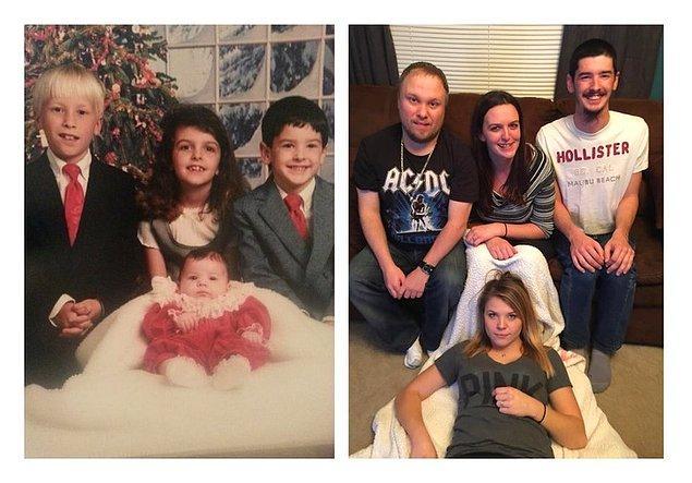 """19. """"Kardeşlerimle eski bir Noel fotoğrafını yeniden canlandırmak istedik. Elimizden geleni yaptık."""""""