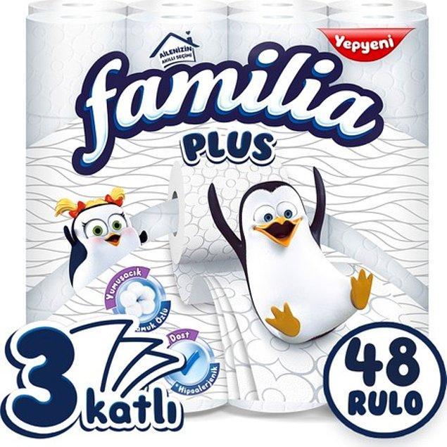 8. Stokladığınız tuvalet kağıtları bitmek üzereyse üzülmeyin. Çünkü 48'li Familia Plus 3 katlı tuvalet kağıdı sadece 56 TL! Yani 1 rulo 1,16 TL'ye denk geliyor ve kargo yine ücretsiz.