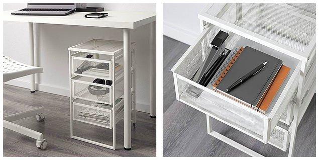 15. Kitaplıklar, kutular size göre değil; ama eşyalarınızı da bir yere koymanız gerekiyorsa bu masa altı çekmece tam sizin için tasarlanmış.