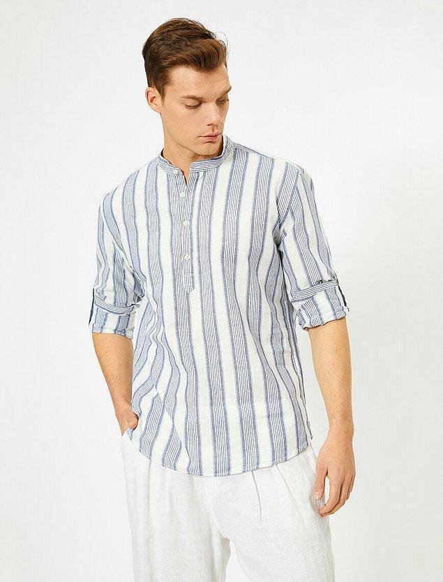 13. Çizgili hakim yaka bu gömlek Koton'un bu sezon çıkardığı başarılı parçalar arasında.