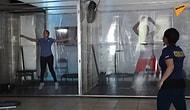 Открылся спортзал, в котором люди занимаются через прозрачные занавесы