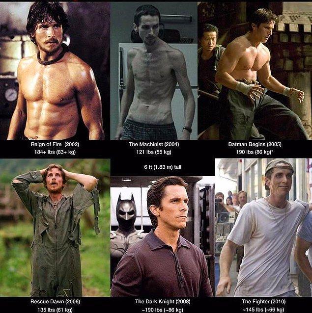 5. Dünyanın en fazla kilo alıp veren insanı olarak Christian Bale'i bu listeye almamazlık yapamazdık.