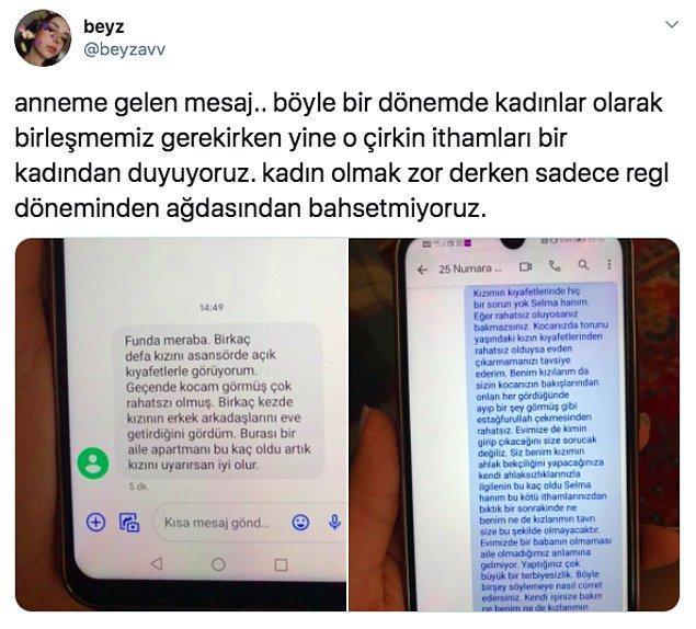 """O ahlak bekçilerinden biri de """"@beyzavv"""" isimli Twitter kullanıcısının komşusu. Bu komşu, Beyza'nın annesine haddi olmayan bir mesaj atmış."""