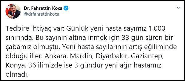 """""""Günlük yeni hasta sayımız 1.000 sınırında"""""""