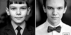9 фотографий одних и тех же людей с разницей в 6,5 лет показывают, как быстро растут дети