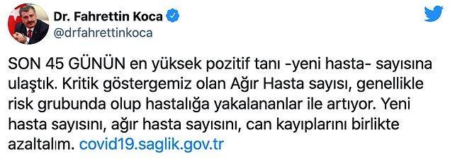 Bakan Koca Twitter mesajında ise şu ifadelere yer verdi: