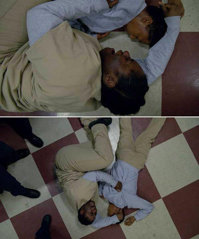 7. 'Orange Is The New Black'de Poussey'nin hapishane protestosu esnasında ani bir şekilde öldüğü sahne.