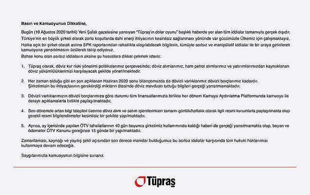 Tüpraş'ın basın açıklaması şu şekilde 📌