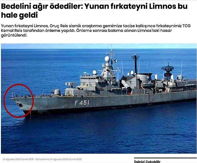 """4. """"Fotoğrafın Türk gemisinin çarptığı Yunan gemisi Limnos'u gösterdiği iddiası"""""""