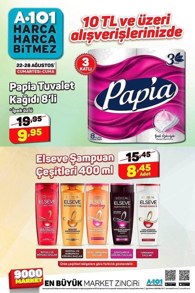 10 TL ve üzeri alışverişlerinizi Papia Tuvalet Kağıdı ve Elseve Şampuan Çeşitleri indirimli.