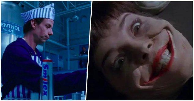15. Tim Burton'ın 'Charlie'nin Çikolata Fabrikası' filminde Charlie'nin babasının Smilex diş macunu firmasına çalışması ve Batman'de Joker'in aynı adlı bir gazla zehirlenmesi.