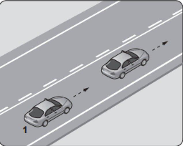 6. Şekildeki 1 numaralı araç 80 km/saat hızla seyrederken önündeki araca en fazla kaç metre yaklaşabilir?