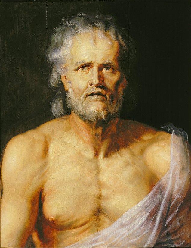 Hayatı boyunca bağnazlığa karşı duran, aklını düşüncelerinin merkezine koyan stoacı filozof, devlet adamı, oyun yazarı Seneca gerçek erdemin insanın içinde olduğunu, dışarıdaki zenginliğin insana mutluluk getirmeyeceğini savunmuş, Neron'a düzenlenen bir suikast girişiminden sorumlu tutularak imparatorluğun emriyle intihar ederek ölümüne karar verilmiştir.