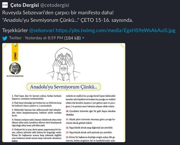 Yazının bir kısmı ÇETO dergisinin Twitter hesabından paylaşıldıktan sonra tabiri caizse kızılca kıyamet koptu...