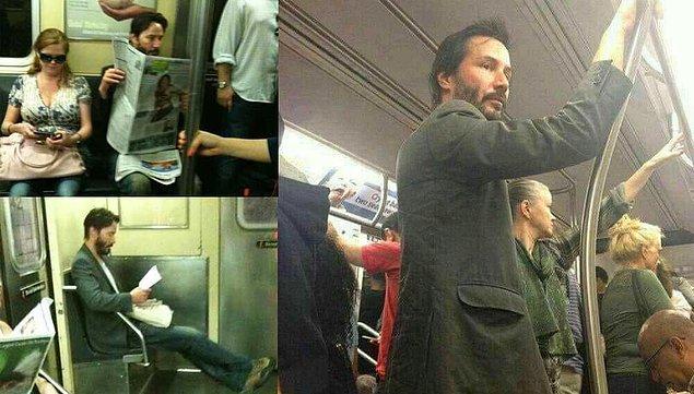 12. Metro kullanıyor ve metroda insanlara yer veriyor...