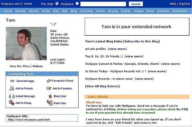 4. Eskinin Facebook'u: MySpace
