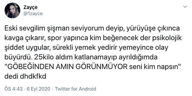 O toksik ilişkilerden birini yaşayan Twitter'dan Zayçe de kendi deneyimini anlattı ve okurken inanamadığımız yanıtlar geldi, meğer bu aslında çok yaygınmış...