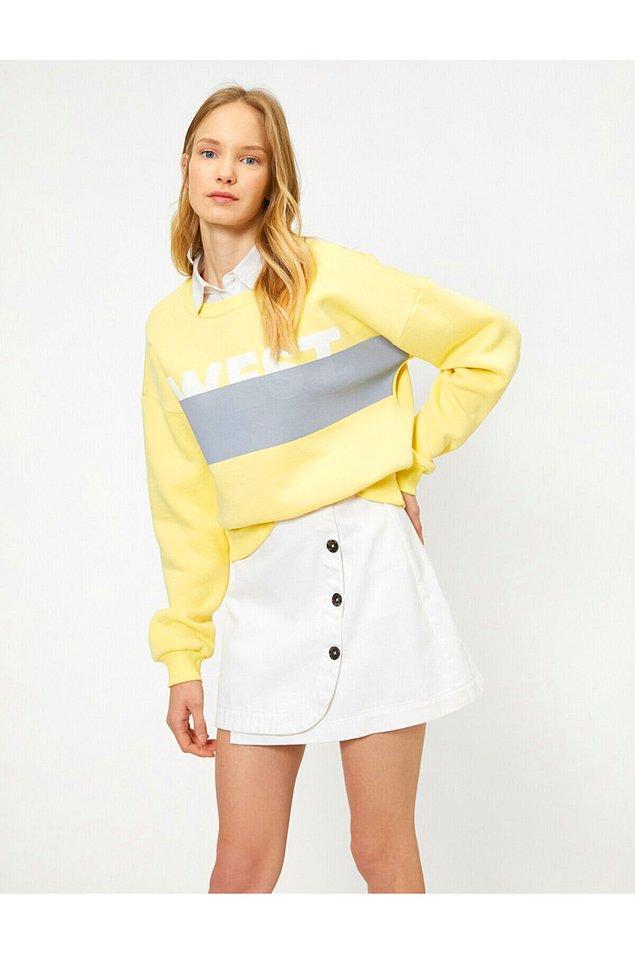 20. Koton marka sarı sweatshirt'ün fiyatı 39 TL'ye düşmüş.