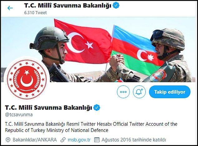 Milli Savunma Bakanlığı da Twitter hesabına Azerbaycan'a destek veren bir görsel yerleştirdi.