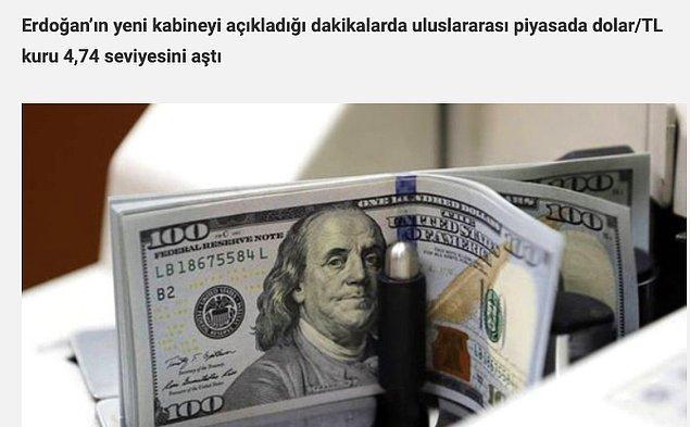 1. Albayrak'ın Ekonomi ve Maliye Bakanlığına atandığında 4.74'ten aldığı Amerikan Doları anlık kurla 7.85'ten işlem görüyor.