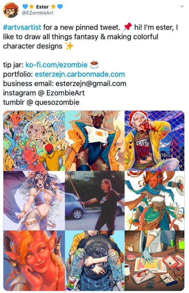 """12. """"Yeni bir sabitlenmiş tweet için #sanatvssanatçı. selam! ben ester, fantezi her şeyi çizmeyi ve rengarenk karakter dizaynı yapmayı severim."""""""