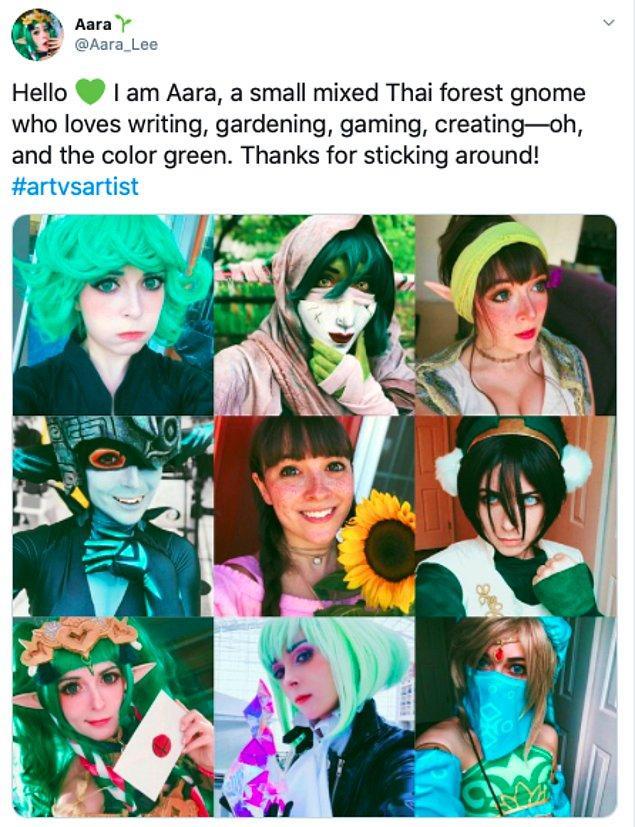 """24. """"Merhaba ben Aara, yazmayı, bahçeciliği, oyunları ve yaratmayı ve yeşil rengi seven minik Taylandlı karışık bir orman cücesiyim. Ayrılmadığınız için teşekkürler! #sanatvssanatçı"""""""