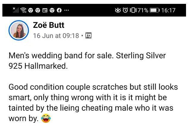 İlan kısa bir süre içerisinde viral oldu çünkü açıklamasında önceki sahibi için 'yalancı, aldatan bir erkek' yazıyordu.
