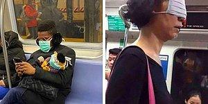 Люди в метро демонстрируют самые смешные способы использования маски (36 фото)