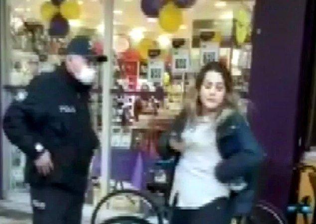 Maske takmayıp polise kimliğini de vermeyen Gülcan Ç. daha sonra gözaltına alınarak karakola götürdü ve tepkisini burada da sürdürdü.