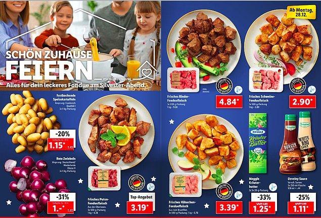 Burada ise mutfaklarımızın vazgeçilmezi patatesin kilosunun 1.15 Euro ve soğanın da 1 Euro olduğunu görüyoruz. Etin çeşidine göre de 3. 19 ve 4.84 Euro arasında değişiklik gösteriyor.