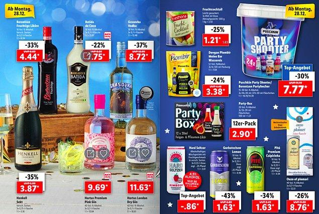 Bu fiyatları görünce insanın şaşırmaması imkansız. Baksanıza Cin 9.69 Euro, Şarap 3.87 Euro ve Votka da 8.72 Euro.