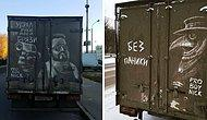 В России владельцы грязных грузовиков находят на своих машинах удивительные рисунки, оставленные художником (20 фото)