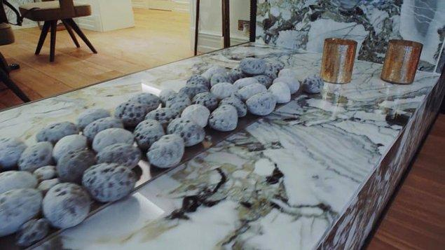 Evindeki Türkiye'den ihraç edilen mermer: